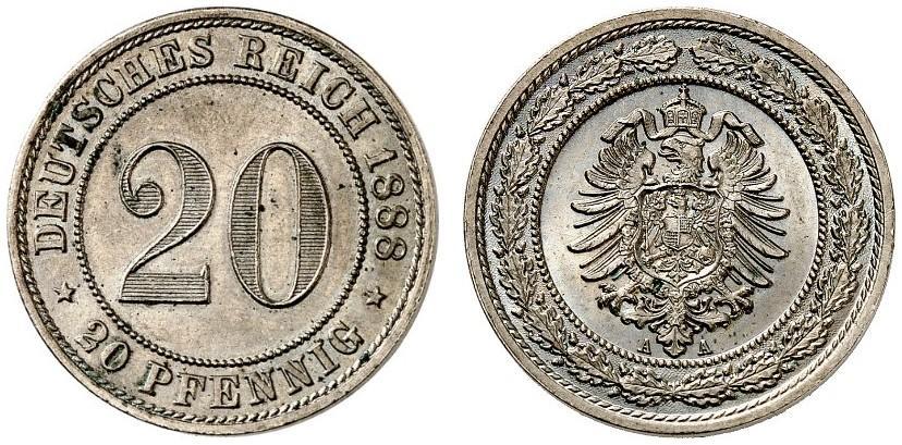 DE 20 Pfennig 1888 A