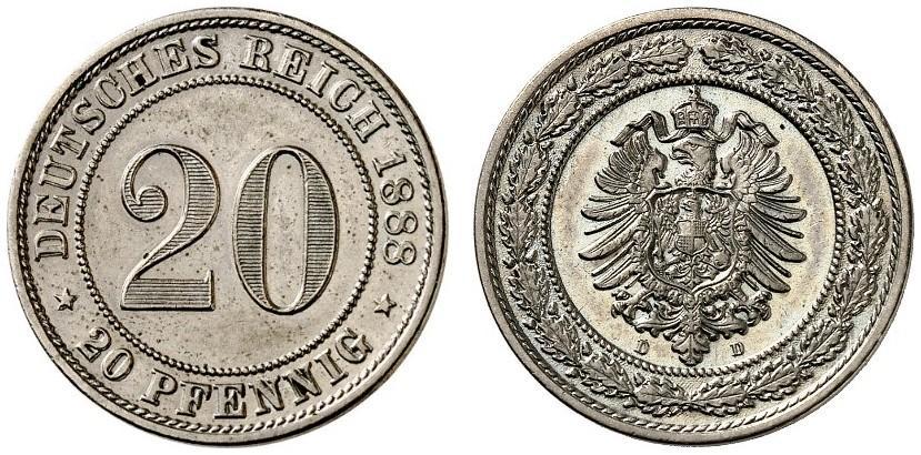 DE 20 Pfennig 1888 D