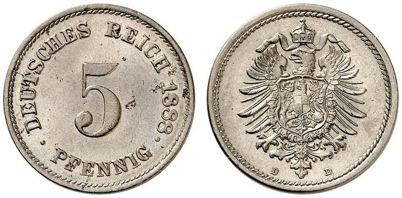 DE 5 Pfennig 1888 D