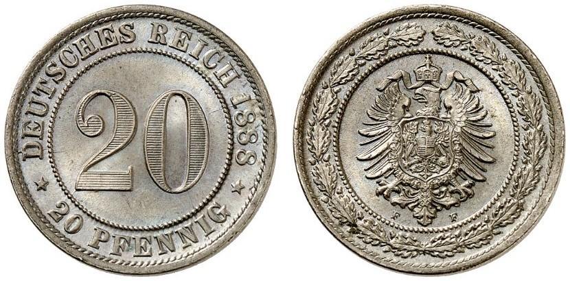 DE 20 Pfennig 1888 F
