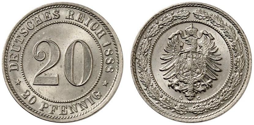 DE 20 Pfennig 1888 G