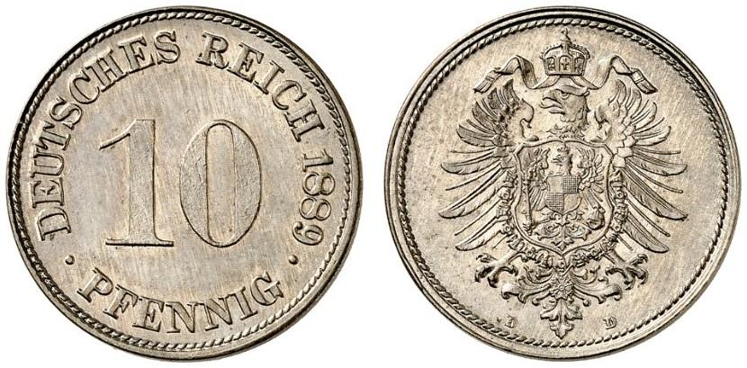 DE 10 Pfennig 1889 D