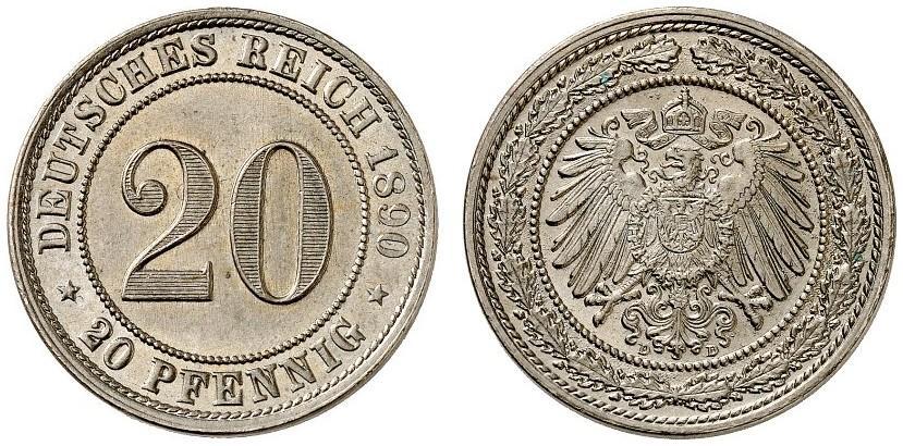 DE 20 Pfennig 1890 D