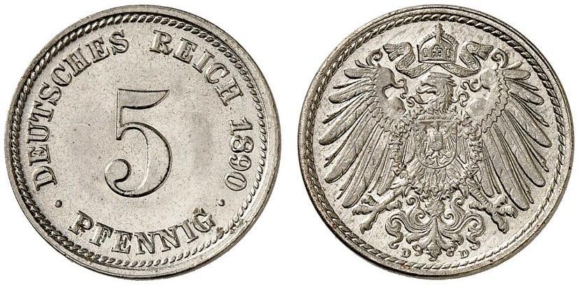 DE 5 Pfennig 1890 D