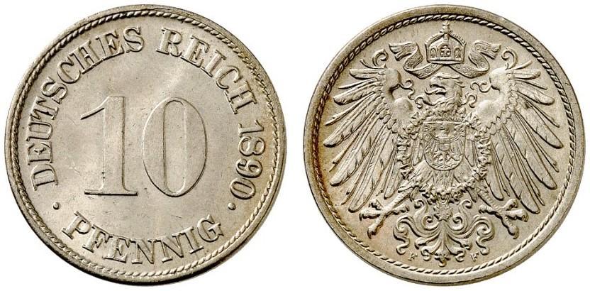 DE 10 Pfennig 1890 F