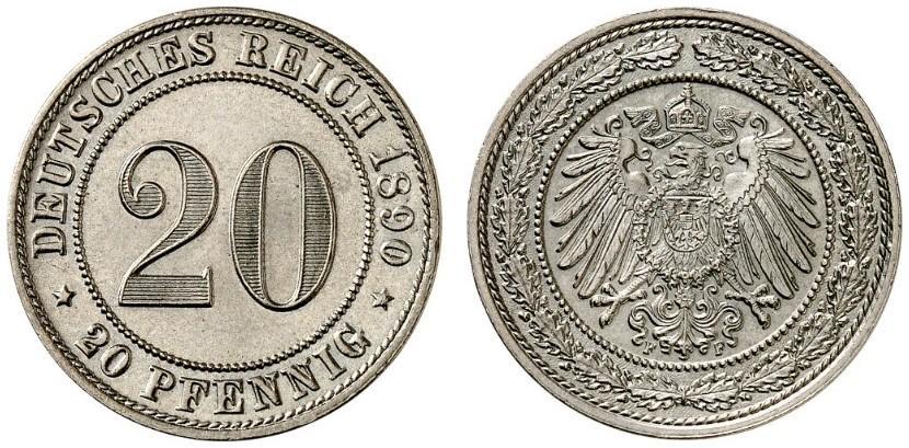 DE 20 Pfennig 1890 F