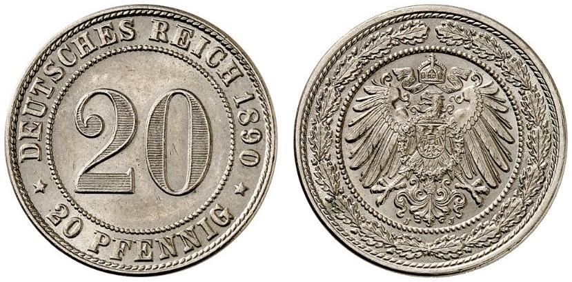 DE 20 Pfennig 1890 J