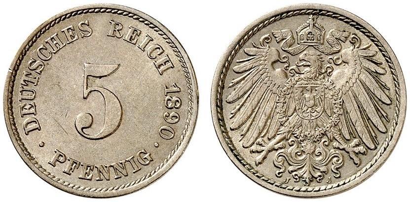 DE 5 Pfennig 1890 J