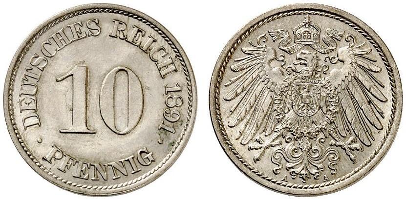 DE 10 Pfennig 1891 A