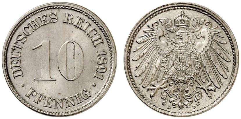DE 10 Pfennig 1891 D