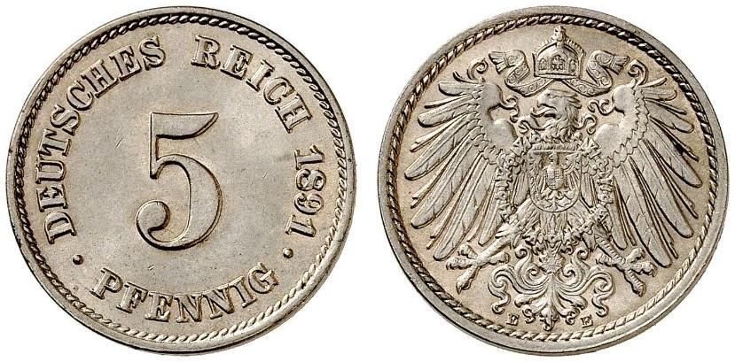 DE 5 Pfennig 1891 E