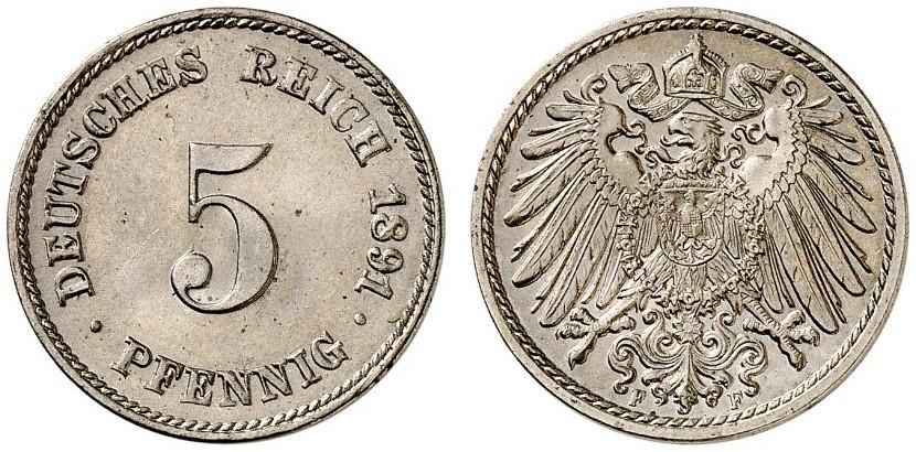 DE 5 Pfennig 1891 F