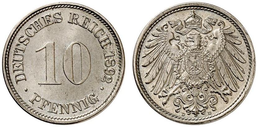 DE 10 Pfennig 1892 D