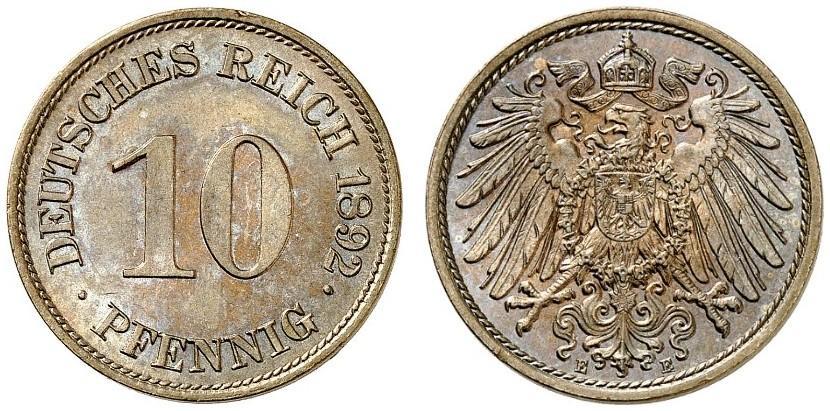 DE 10 Pfennig 1892 E