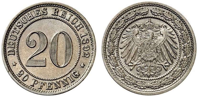 DE 20 Pfennig 1892 E