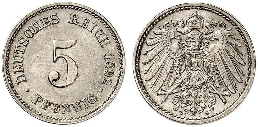DE 5 Pfennig 1892 E