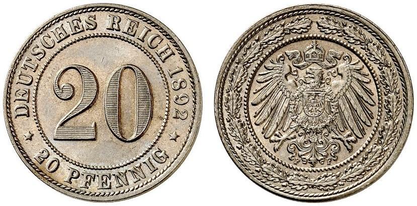 DE 20 Pfennig 1892 F