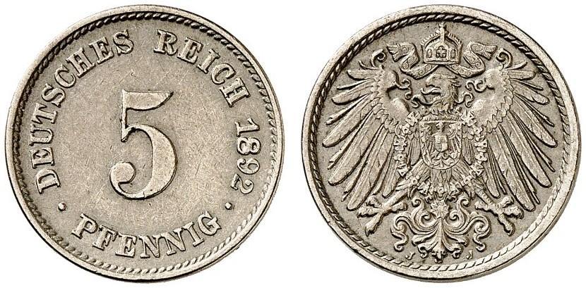 DE 5 Pfennig 1892 J