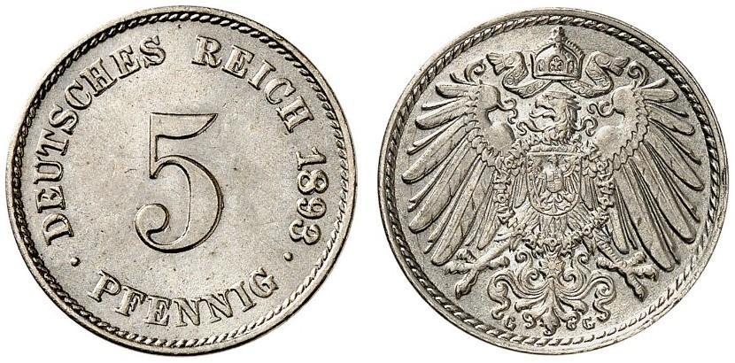DE 5 Pfennig 1893 G