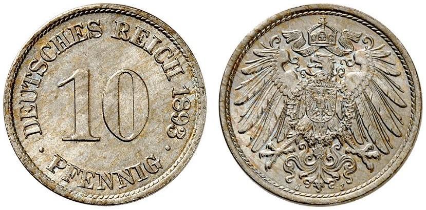 DE 10 Pfennig 1893 J
