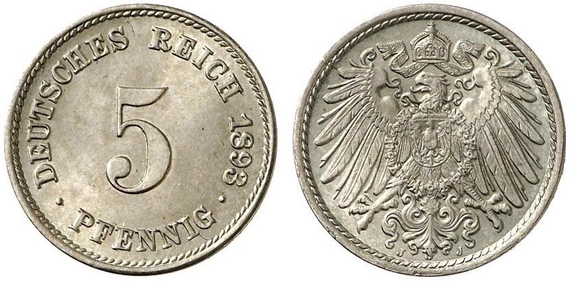 DE 5 Pfennig 1893 J