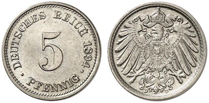 DE 5 Pfennig 1894 D