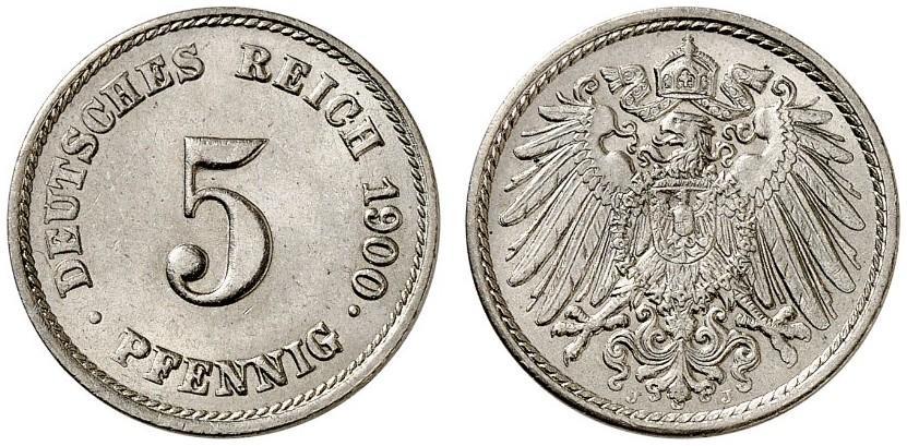 DE 5 Pfennig 1900 J