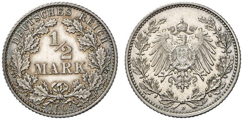 DE 1/2 Mark 1905 D