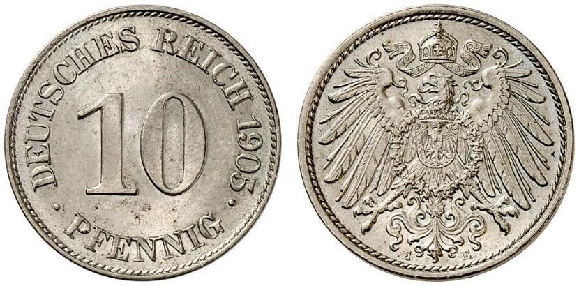 DE 10 Pfennig 1905 E