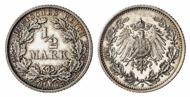 DE 1/2 Mark 1905 F
