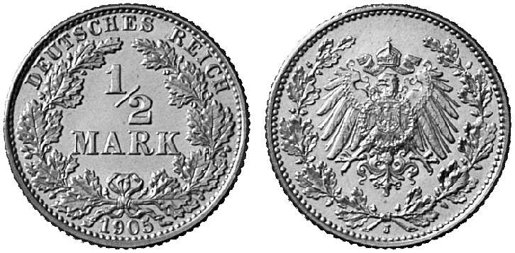 DE 1/2 Mark 1905 J