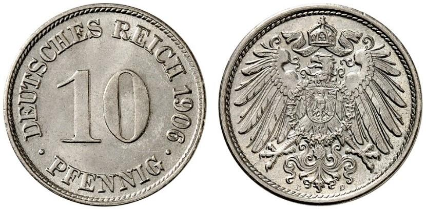 DE 10 Pfennig 1906 D