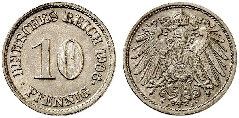 DE 10 Pfennig 1906 J