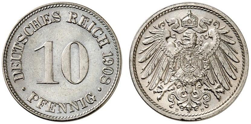 DE 10 Pfennig 1908 D
