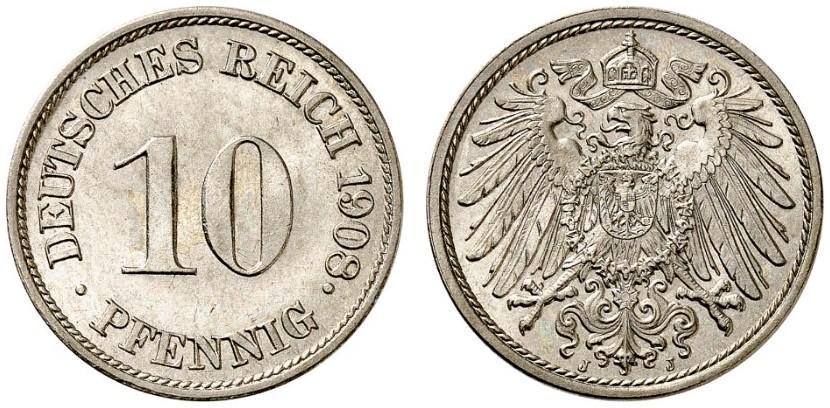 DE 10 Pfennig 1908 J