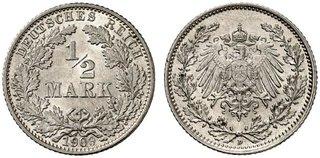 DE 1/2 Mark 1909 D