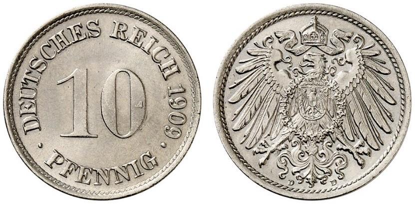 DE 10 Pfennig 1909 D