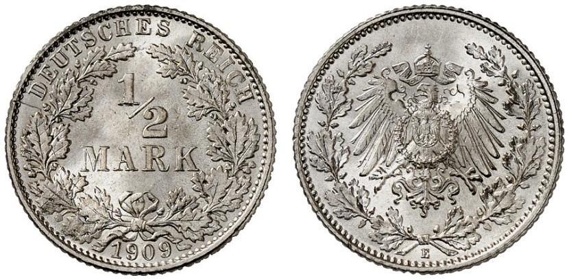 DE 1/2 Mark 1909 E