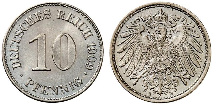 DE 10 Pfennig 1909 E