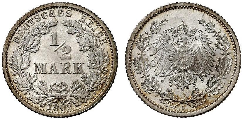 DE 1/2 Mark 1909 F