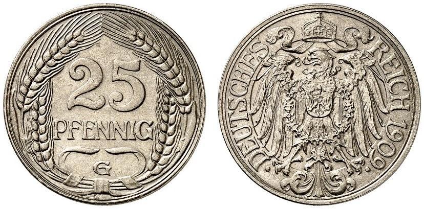 DE 25 Pfennig 1909 G