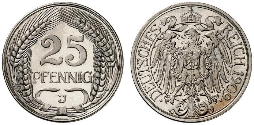 DE 25 Pfennig 1909 J