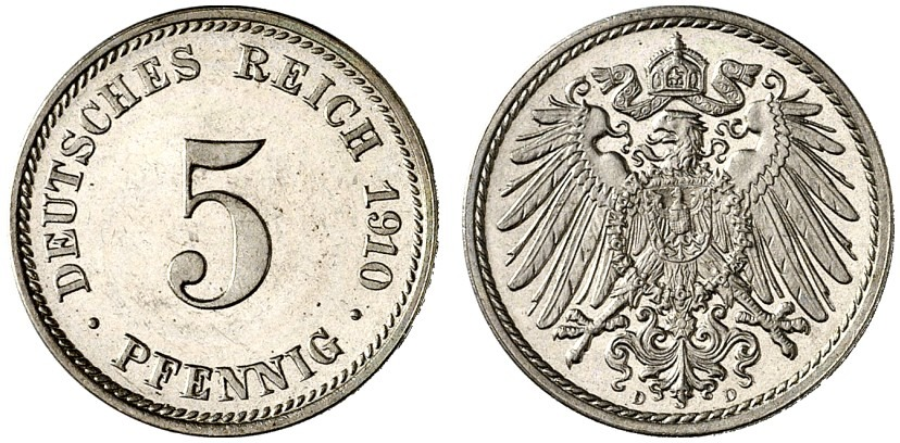 DE 5 Pfennig 1910 D