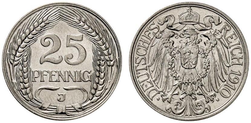 DE 25 Pfennig 1910 J