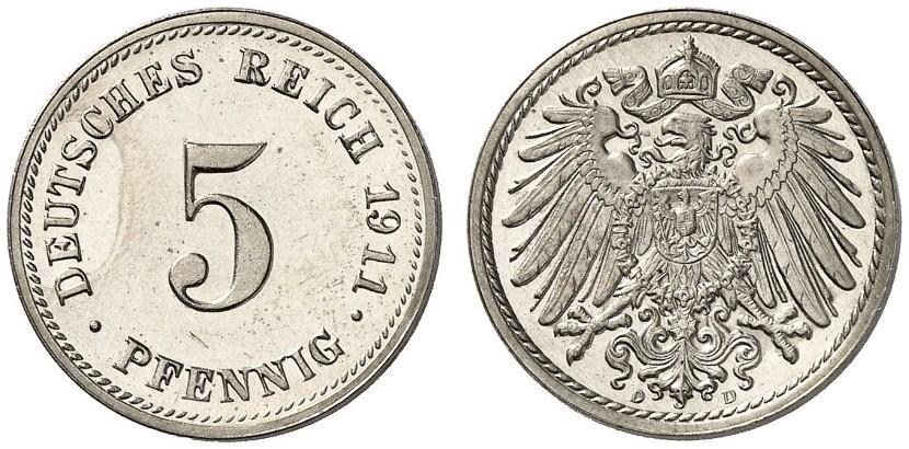 DE 5 Pfennig 1911 D