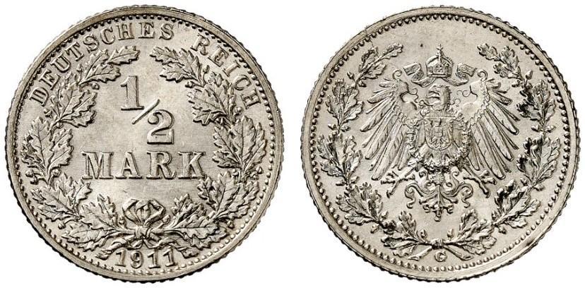 DE 1/2 Mark 1911 G