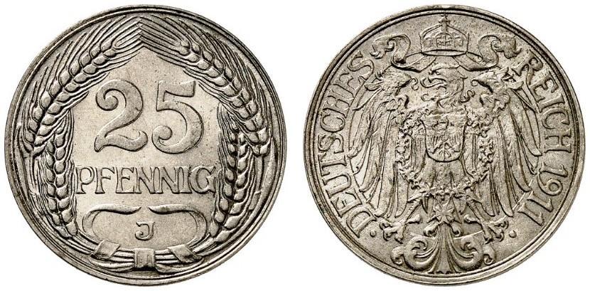 DE 25 Pfennig 1911 J