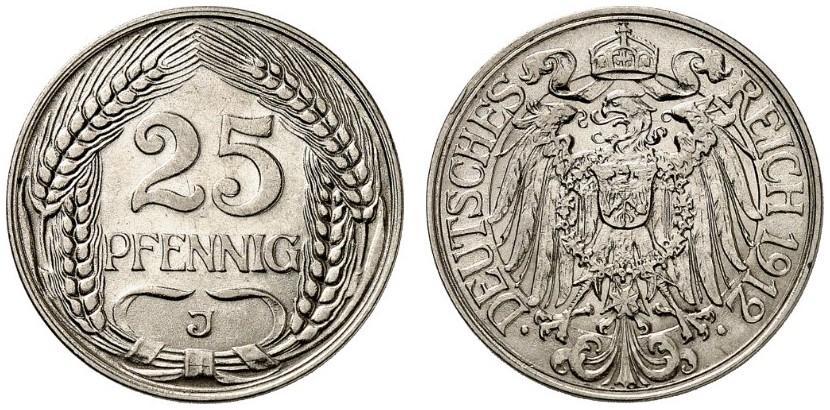 DE 25 Pfennig 1912 J
