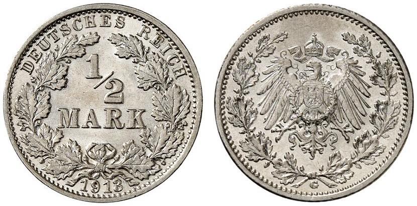 DE 1/2 Mark 1913 G