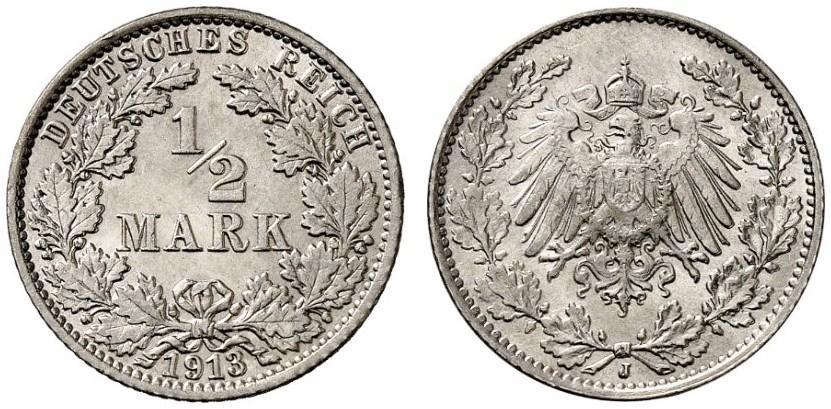 DE 1/2 Mark 1913 J